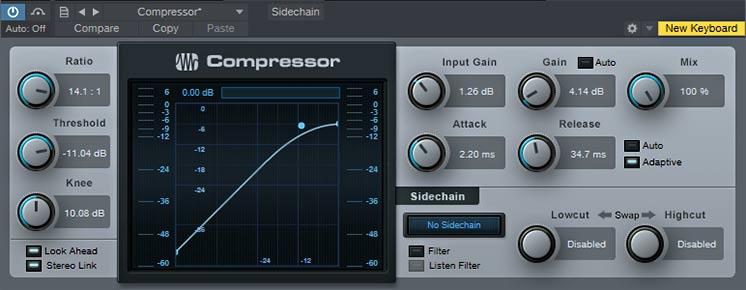 Один из вариантов настройки компрессора для голоса