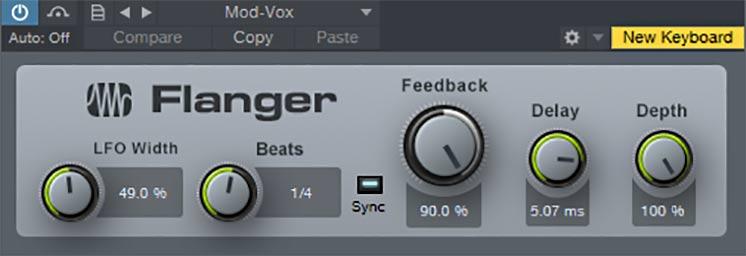 Обработка голоса с эффектами флэнжера - один из вариантов настройки